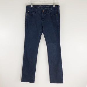 Madewell Dark Blue Rinse Rail Straight Jeans